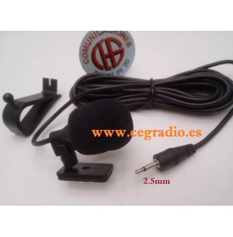 3m Microfono Externo Jack 2.5mm Manos Libres DVD Radio GPS Vista General
