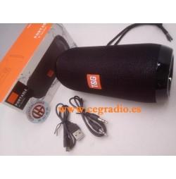 Altavoz Portatil TG117 Bluetooth Impermeable Entrada Auxiliar Tarjeta Micro SD FM Radio Vista Caja
