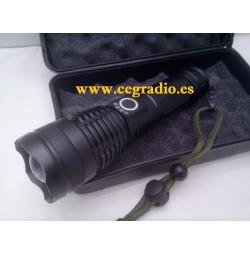 Linterna CREE LED XHP502 Recargable Micro USB 5 Modos 18650 Zoom Vista Completa