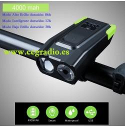 Luz LED Bicicleta Inteligente Recargable 4000 mAh Impermeable Vista General