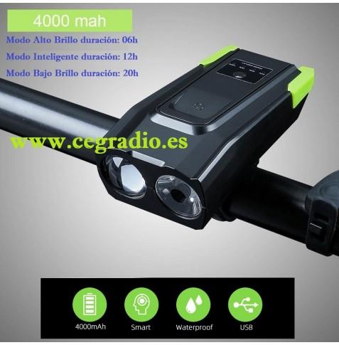 1 LED lámpara para bicicleta con soporte carcasa de aluminio azul negro Sport luz en