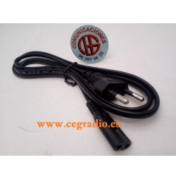 Cable Alimentación Enchufe Europeo IEC 320 C7 Negro Vista Completa
