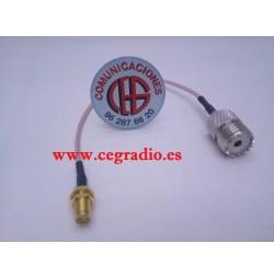 20cm Cable Baja Perdida RG316 SMA Hembra a PL259 UHF SO-239 Hembra Vista General