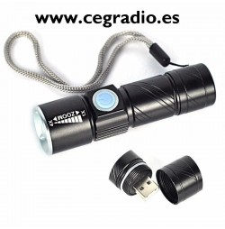 Linterna LED Recargable USB Zoom Vista Horizontal