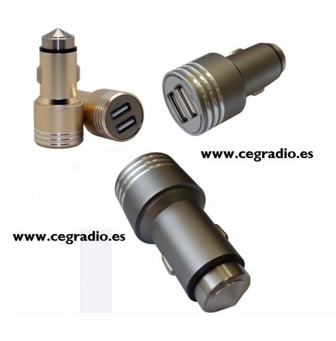 Cargador USB doble Mechero Metal 2.5Am