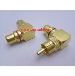2 Conectores RCA Angulo Macho-Hembra Metal Oro