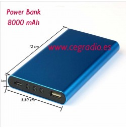 Power Bank 8000 mAh metal