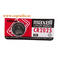Pila Litio Boton Maxell CR2025 Vista Blister