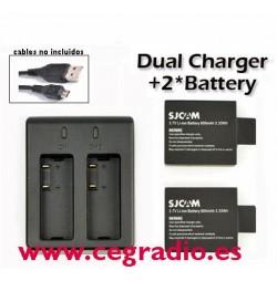 Cargador USB SJCAM + 2 baterías