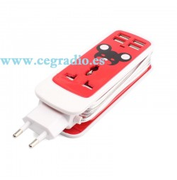 Cargador Pared AC Universal 4 puertos USB Rojo