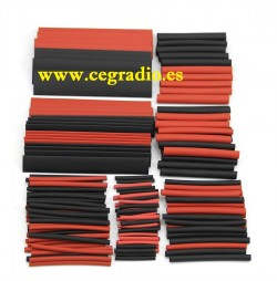 150 piezas tubos termo retractiles rojo negro