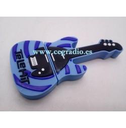 Memoria USB 2.0 Guitarra Azul 8GB Vista General