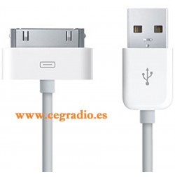 Cable USB Carga Datos iPhone 4 4S Vista Frontal