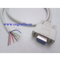 Cable Serie RS232 DB9 9Pin Conector Hembra a 9 hilos