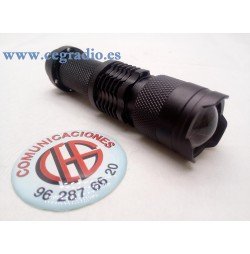 Linterna CREE LED Q5 3 Modos Zoomable Vista Lateral