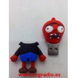 Memoria USB 8GB Zombie Rojo Vista espaldas