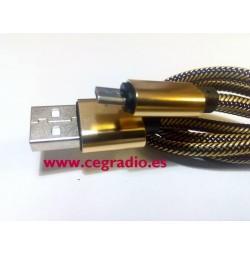 Cable Micro USB 1m Fibra Nylon Dorado Negro Azul Vista Lateral
