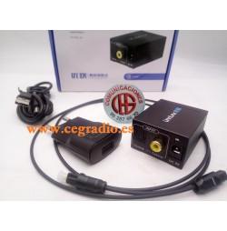 Convertidor de Audio Digital SPDIF Toslink Óptico a Audio Análogico RCA Jack 3.5mm Vista Completa