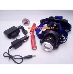 Linterna Cabeza LED XM-L L2 Zoom + Baterias + Cargador Vista General