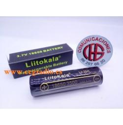 LiitoKala 3.7 V 18650 3500 mAh Batería Recargable Litio Vista Horizontal