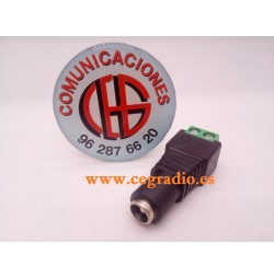 Adaptador Conector DC 12V 5.5mm Hembra Vista Frontal