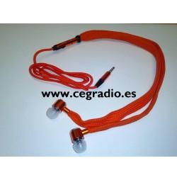 Auriculares Estereo 3.5mm Micro Cordon Zapato Naranja Vista Completa
