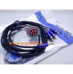 3m VOXLINK Cable Audio Jack 3.5mm Estéreo a 3 RCA macho Chapados En Oro