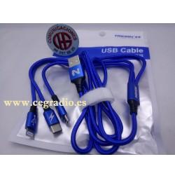 Nohon 3 en 1 cable USB carga rápida Tipo C iPhone 5,6,7,8 Micro USB Vista General