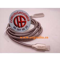 1m Golf Cable USB Metal Aleación Zinc iPhone 5 5S 6 6S 7 8 IPad