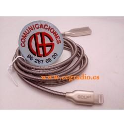 1m Golf Cable USB Metal Aleación Zinc iPhone 5 5S 6 6S 7 8 IPad