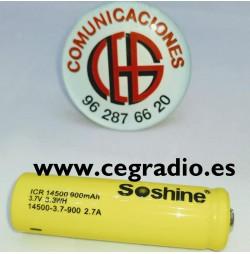 Bateria Soshine 14500 Li-ion 900mAh 3.7V Vista Frontal