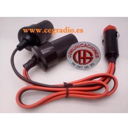 Ladrón Divisor 2 Conectores Mechero Hembra 1 Conector Mechero Macho 12V 24V Vista 40cm