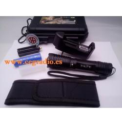 Maleta Linterna CREE T6 LED 800 Lm Zoomable Batería Cargador Funda Vista General