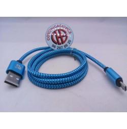 1m TIEGEM Cable Micro USB Nylon Azul Carga Rapida Datos Vista Completa