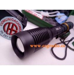Estuche Linterna LED CREE L2 2000 Lm Zoomable + Baterías + Cargador Vista Lateral