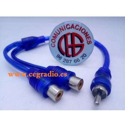 Cable Distribuidor Splitter de Audio 1 RCA Macho 2 RCA Hembra Vista General