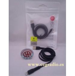 1m Baseus Cable Carga Datos Micro USB Type-C Samsung iPhone X, 6, 7, 8 Vista Completa