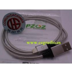 PZOZ Cable Magnético Carga Rapida Micro USB Tipo C iPhone Vista iOS Plata