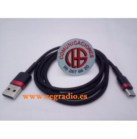 Baseus Cable USB QC 3.0 tipo C Carga Rapida Datos Samsung Galaxy S9 S8 Note8 Xiaomi Max3 Vista Lateral