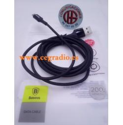 2m Baseus Cable Carga Datos Reversible Micro USB Iluminación LED Xiaomi Samsung Vista General