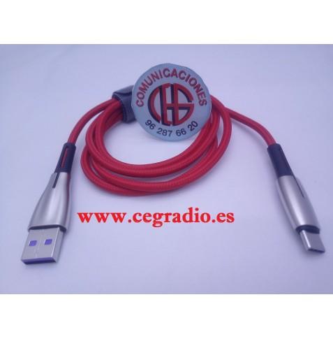 1m Baseus Cable USB Tipo C 5A Carga Rapida QC3.0 Huawei Samsung DooGee Vista General