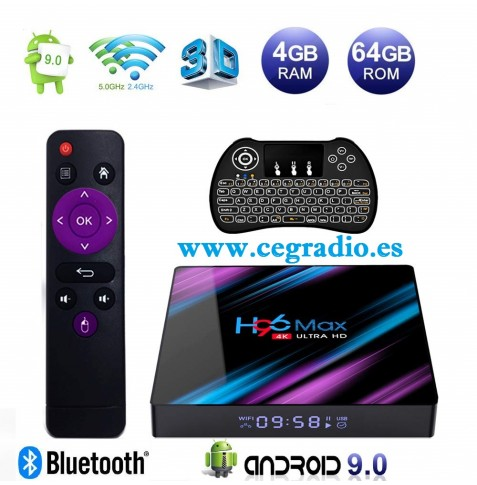 H96 Max Smart TV Box 64GB DDR3 USB 3.0 Bluetooth 4.0 Android 9.0 4K Wifi 2.4Ghz 5Ghz Vista General