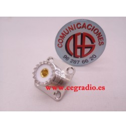 Conector RF UHF PL Hembra SO239 Panel Chasis 4 Orificios Vista Frontal