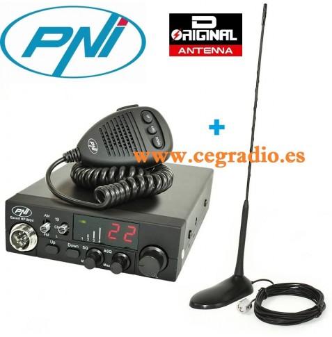 PNI 8024 Escort HP Emisora CB 27Mhz ASQ Ajustable 12V 24V + Antena Vista Pack