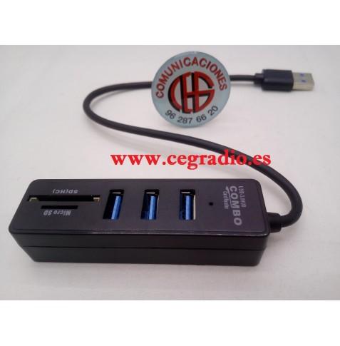 Hub USB 3.0 Splitter 3 puertos Alta Velocidad 2 en 1 Lector Tarjetas para PC Vista General