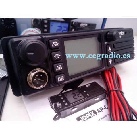 JOPIX AP-6 Emisora Movil CB 27Mhz FM AM Multinorma Europea Vista Lateral Izq