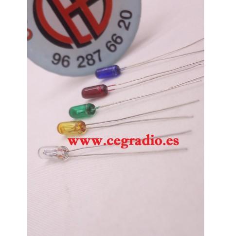 5 Unidades Mini Bombillas De Filamento 12V 3mm Rojo Amarillo Azul Verde Blanco Vista Horizontal
