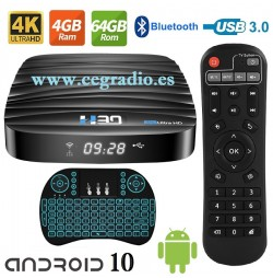 TV Box 4K Android 10 H.265 3D RAM 4GB ROM 64GB Wifi 2.4Ghz 5GHz Bluetooth Vista General