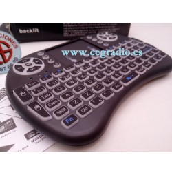 Mini Teclado Inalambrico i8 Retroiluminado 2.4 Ghz Touchpad Android TV Box Vista Lateral Izq.