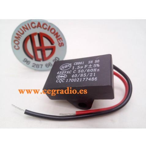 CBB61 Condensador Ventilador Techo AC 450V 1.5uF